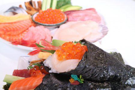 手巻き寿司1のフリー素材(市場の写真)