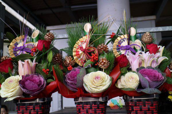 正月花3のフリー素材(市場の写真)