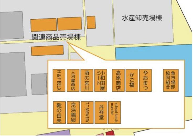関連商品売場棟店舗配置図