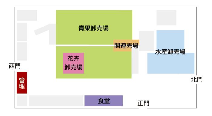 川崎南部卸売市場場内マップ