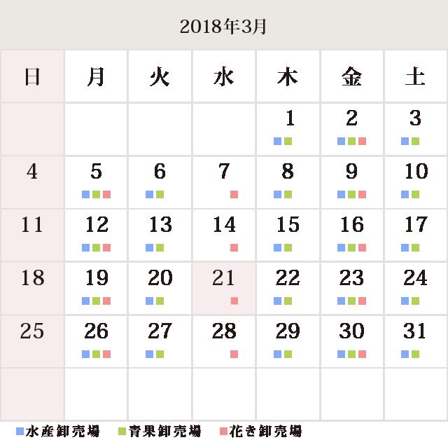川崎幸市場3月のカレンダー