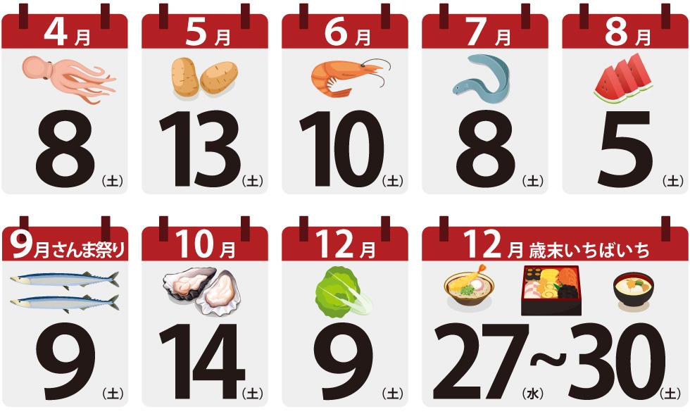 川崎幸市場いちばいち年間カレンダー