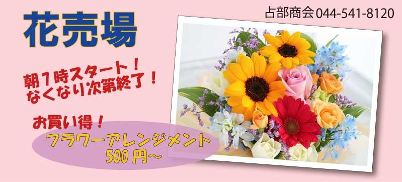 川崎幸市場花売り場、朝7時スタート無くなり次第終了。お買い得フラワーアレンジメント500円〜赤いガーベラと小さいひまわりピンクのバラを中心としたフラワーアレンジメントの写真。