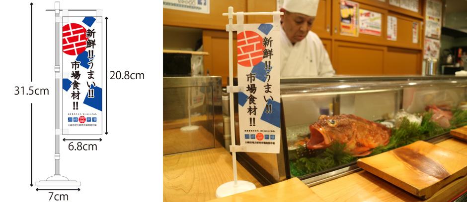 のぼりのサイズを表記した図と寿司屋店内にのぼりを設置した写真