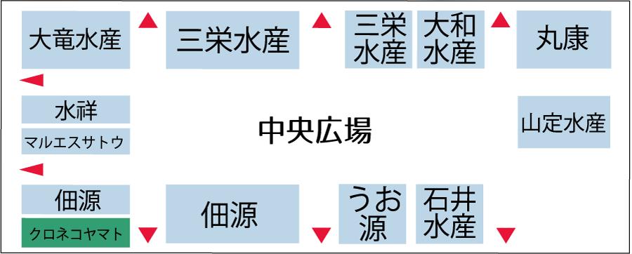 川崎幸市場水産棟配置図
