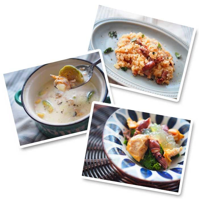 ホタルイカのリゾット・ホンビノス貝と芽キャベツのクラムチャウダー・ホンビノス貝とホタルイカと菜の花の潮汁ジュレがけ