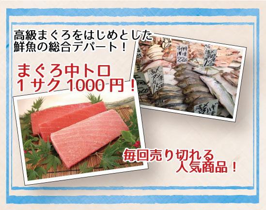三栄水産高級馬グロをはじめとした鮮魚の総合デパート!まぐろ中トロ1サク1000円!毎回売り切れる人気商品!のテキストとマグロ2サクの写真、鮮魚が並ぶ写真