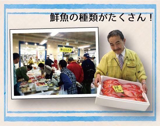 山定水産 鮮魚の種類がたくさん!のテキスト、賑わう売り場、魚を持っている店員の写真