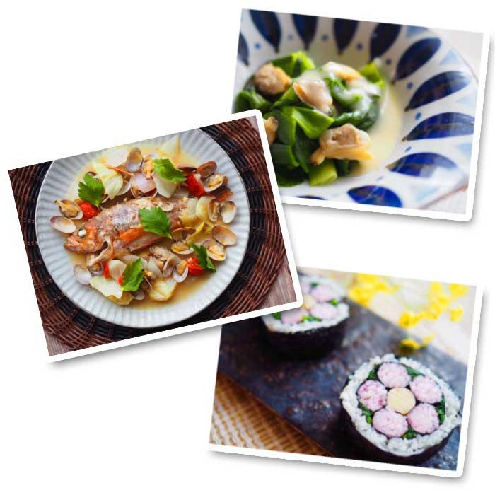 メバルの和風アクアパッツァ,アサリとわけぎの酢味噌和え,桃の花の飾り寿司