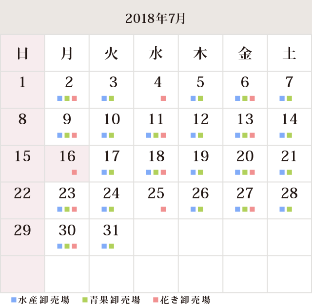 川崎幸市場2018年7月カレンダー