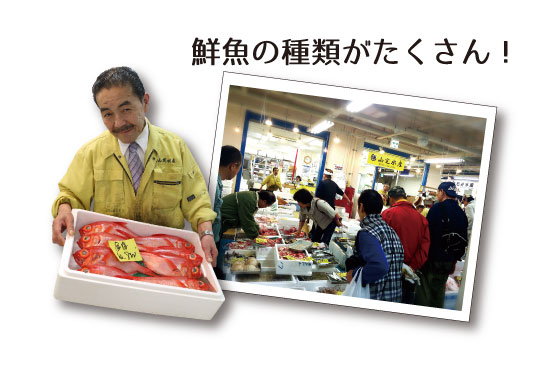 山定水産 鮮魚の種類がたくさん!のテキスト、賑わう売り場、魚を持っている店員の写真新鮮な鮮魚がそろう!