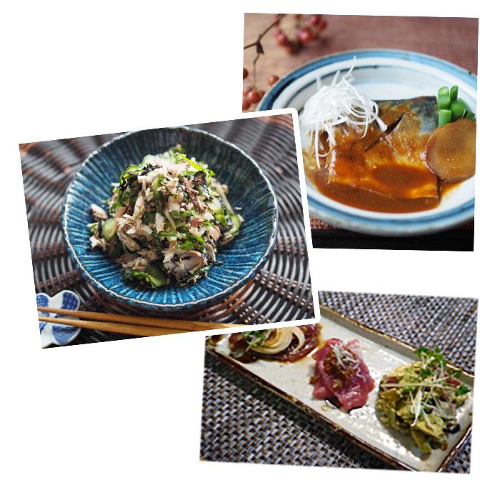 鰹三種盛り鯖の味噌煮 焼き鯖ほぐし薬味和え