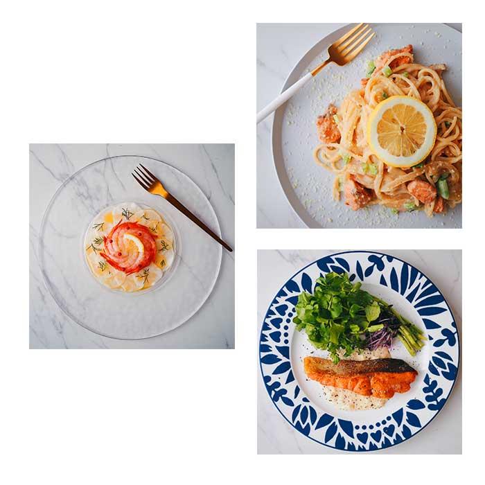 川崎幸市場料理教室「鮭のレモンクリームパスタ」「鮭のムニエルハニーマスタードソース」「甘エビとカブのディルカルパッチョ」