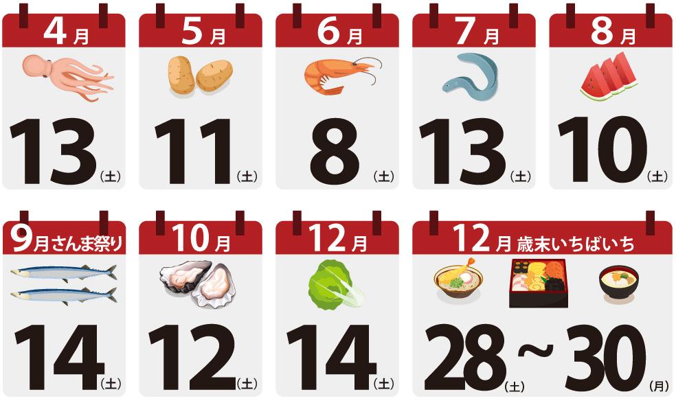 2019年川崎幸市場いちばいち年間スケジュール