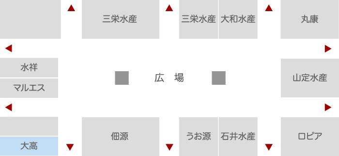 """株式会社大高 水産業者エリア 店舗配置図"