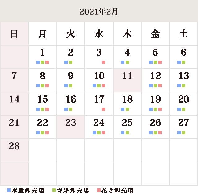 川崎幸市場2月休市場予定