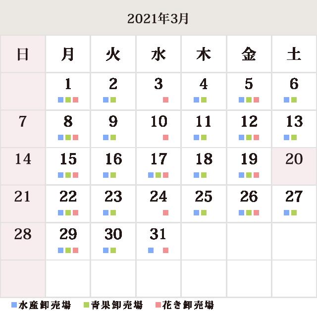 川崎幸市場3月休市場予定