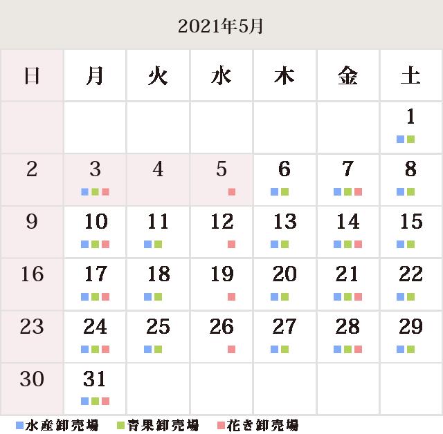 川崎幸市場5月休市場予定