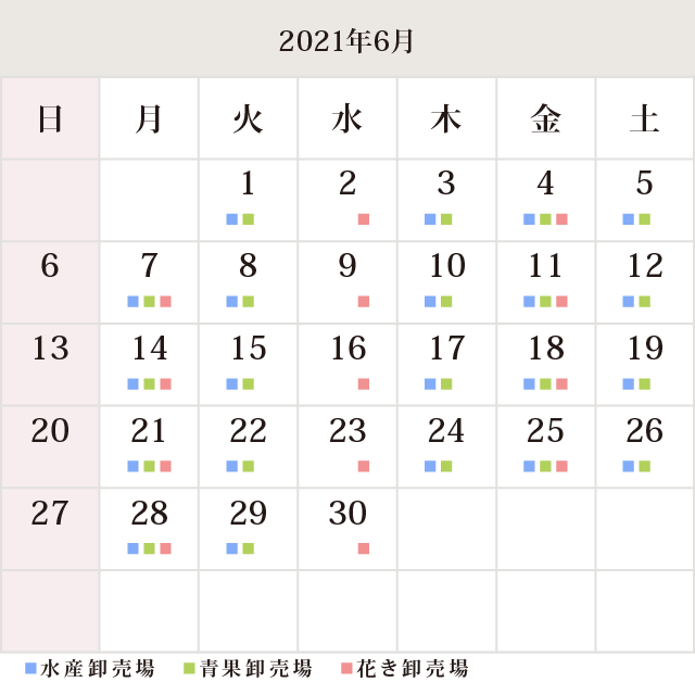 川崎幸市場6月休市場予定