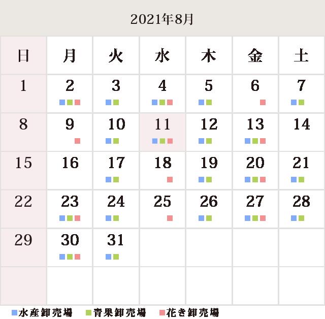 川崎幸市場8月休市場予定