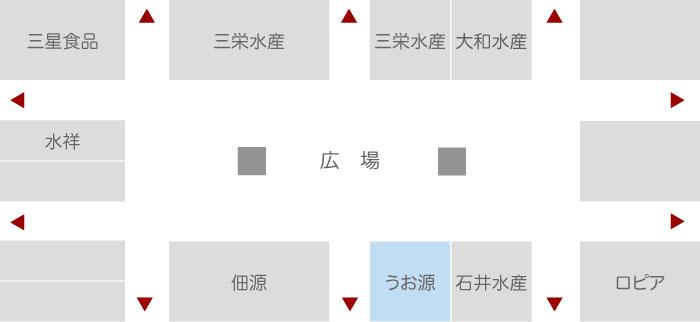 株式会社うお源 水産業者エリア 店舗配置図