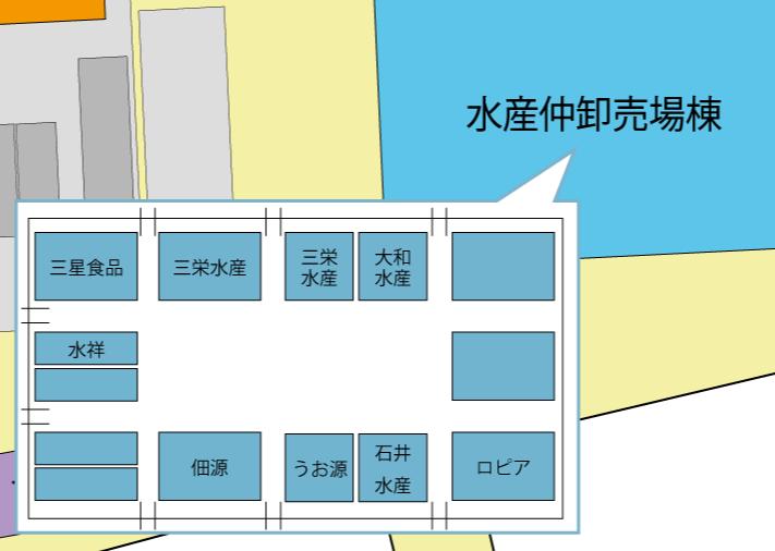 水産仲卸売場棟店舗配置図